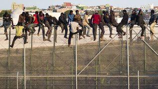 Des migrants africains perchés sur une barrière à la frontière entre le Maroc et l'Espagne attendent d'être récupérés par des gardes civils espagnols qui les ont repérés, Melilla (Espagne), le 22 octobre 2014. (REUTERS)