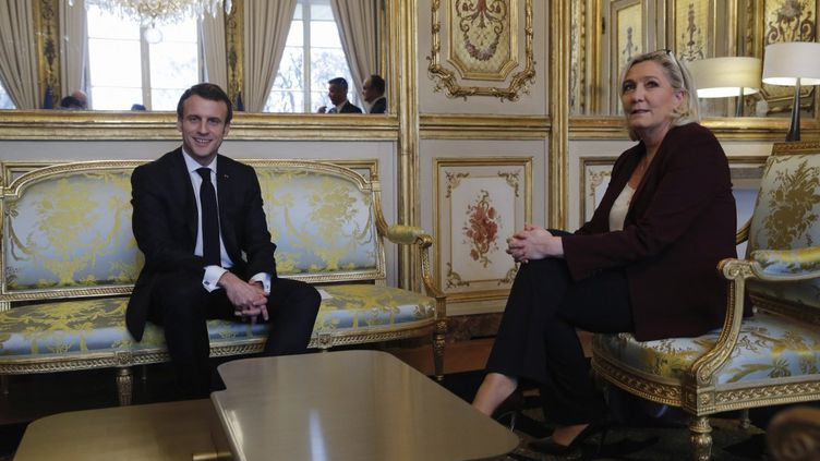 Emmanuel Macron et Marine Le Pen, le 6 février 2019 à l'Elysée, à Paris. (PHILIPPE WOJAZER / AFP)