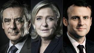 François Fillon et Emmanuel Macron sont donnés au coude-à-coude au premier tour de l'élection présidentielle, derrière Marine Le Pen, dans un sondage Harris Interactive pour France Télévisions publié le 23 février 2017. (JOEL SAGET / AFP)