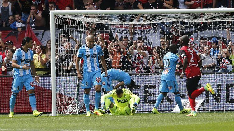 Rekik, Doria, Pelé, Diarra, Sakaï, tous devancés par Salibur pour l'ouverture du score (NICOLAS VALLAURI / MAXPPP)