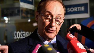 Didier Gailhaguet, président de la Fédération française des sports de glace, s'adresse à la presse après un entretien avec la ministre des Sports, le 3 février 2020, à Paris. (BERTRAND GUAY / AFP)