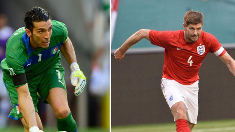 Gianluigi Buffon et Steven Gerrard (YURI CORTEZ/MLADEN ANTONOV / AFP)