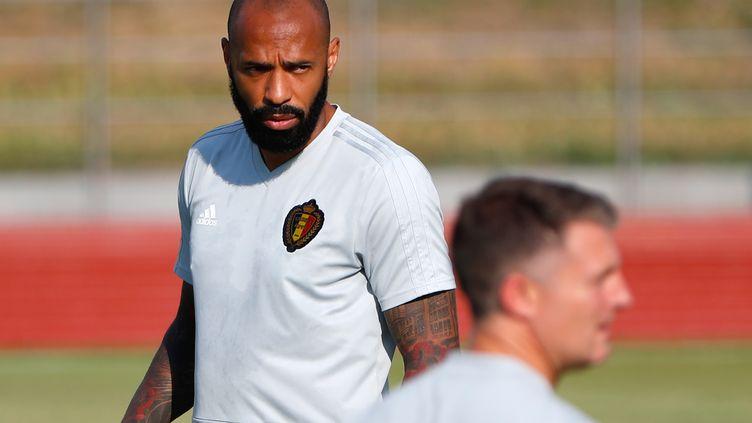 L'ancien international tricolore Thierry Henry lors d'un entraînement de la sélection de la Belgique en pleine Coupe du monde le 1er juillet 2018 à Rostov-sur-le-Don (Russie). (JACK GUEZ / AFP)