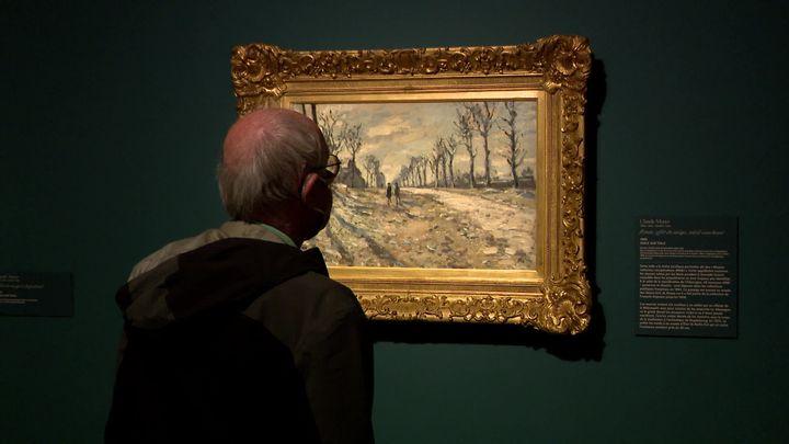 Parmi les 9 tableaux exposés au musée des Beaux-Arts de Rouen, cette toile de Claude Monet : Route, effet de neige, soleil couchant - Rouen, musée des Beaux-Arts (MNR 1002)  (E. Laperdrix /  France Télévisions)