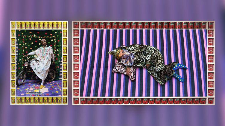 "Hassan Hajjaj : à droite, ""Alia Ali"", de la série ""Vogue: TheArab Issue"" - à gauche ""Simo"", de la série ""Gnawi Riders"" (A gauche © Hassan Hajjaj, 2018/1439 - A droite © Hassan Hajjaj, 2014/1435)"