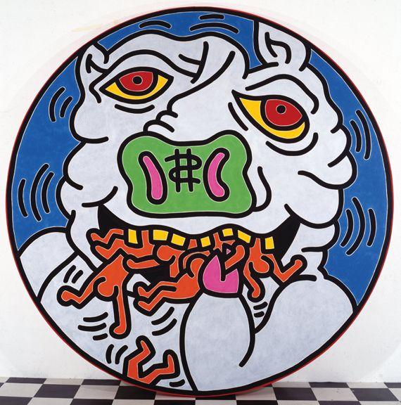 "Keith Haring, ""Untitled"", 1988. Collection Keith Haring Foundation. Acrylique sur toile, 304,8 cm de diamètre. (KEITH HARING FOUNDATION)"