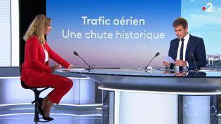 La crise sanitaire a durement frappé le secteur aérien. Présente sur le plateau du 13 Heures, la journaliste Dorothée Lachaud fait le point sur la situation. (FRANCE 2)