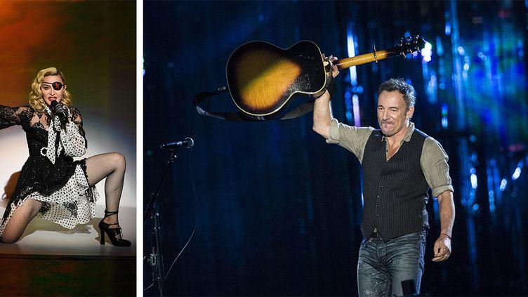 La chnateuse Madonna le 1er mai 2019 à Las Vegas et le chanteur BruceSpringsteen le 11 novembre 2014 à Washington DCaux Etats-Unis. (AFP)