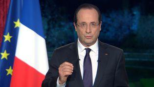 Une capture d'écran du président François Hollande lors de ses voeux de nouvel an adressés aux Français, le 31 décembre 2012,du Palais de l'Elysée à Paris. (AFP/FRANCE 2)