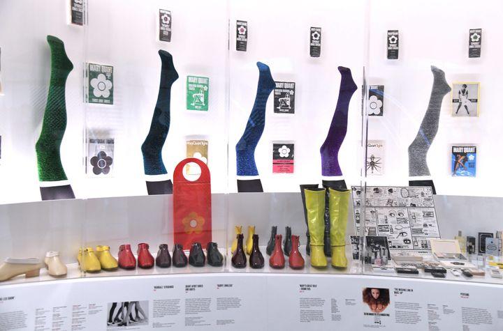 Expo Mary Quant à Londres (accessoires), en avril 2019