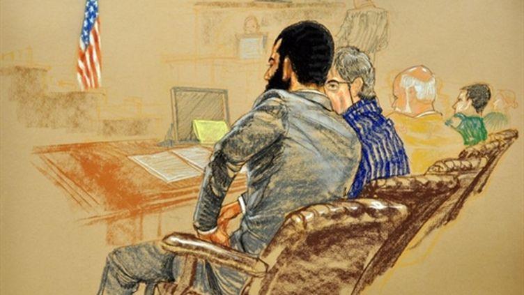 Omar Khadr lors d'une audition à Guantanamo (dessin de Janet Hamlin) (AFP)