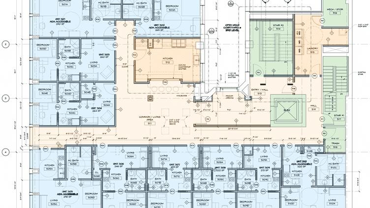 Plan du futur espace de coliving aménagé par Troy Evans à Syracuse, dans l'Etat de New York. (COMMONSPACE)