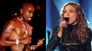 Tupac sur scène (non daté) ; Madonna en concert à Duisbourg (28 février 1998)  (Interfoto-Sipa / Achim Scheidemann-DPA-AFP)