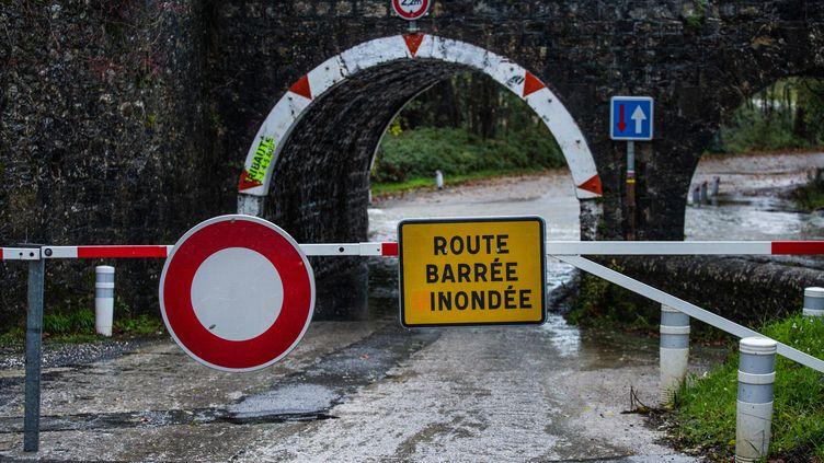 Une route inondée, dans le Gard, le 23 novembre 2019. (BENJAMIN POLGE / AFP)