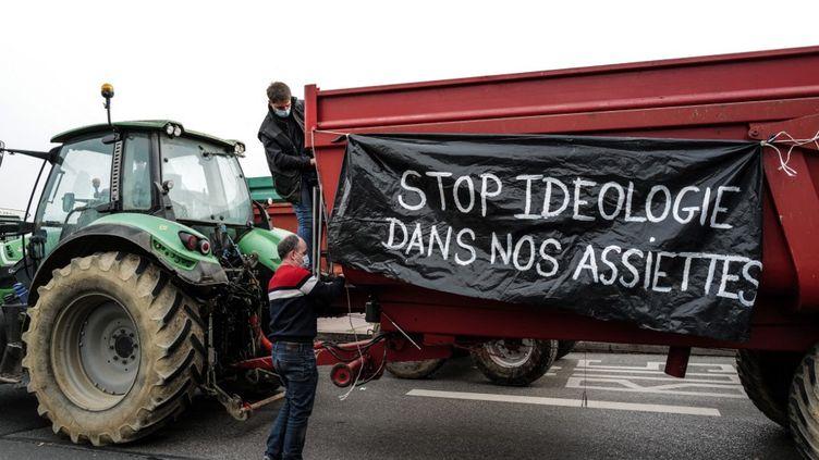 Des agriculteurs près de l'Hôtel de Ville de Lyon ce lundi 22 février pour protester contre les menus sans viande imposés par la mairie dans les cantines scolaires (OLIVIER CHASSIGNOLE / AFP)