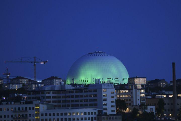 L'Ericsson Globe, une salle omnisport à Stockholm (Suède), le 2 juin 2017. (FREDRIK SANDBERG / TT NEWS AGENCY / AFP)