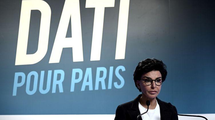 Rachida Dati, candidate à la mairie de Paris pour Les Républicains, le 15 mars 2020. (PHILIPPE LOPEZ / AFP)
