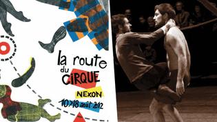 Affiche du festival de Nexon 2012 et spectacle Nichons-là par Rémi Luchez et Olivier Debelhoir  (Charlène Crespel / Pôle National des Arts du Cirque Nexon Limousin)
