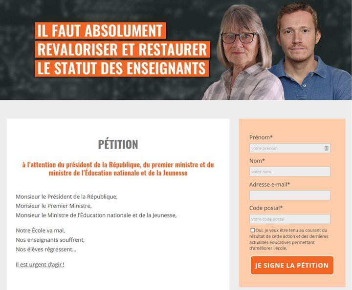 Exemple de pétition de l'association SOS Éducation, publiée en janvier 2020. (Capture d'écran du site de SOS Éducation (CAPTURE D'ECRAN))