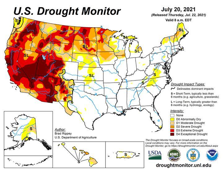 La carte de la sécheresse aux Etats-Unis, le 20 juillet 2021. (US DROUGHT MONITOR)