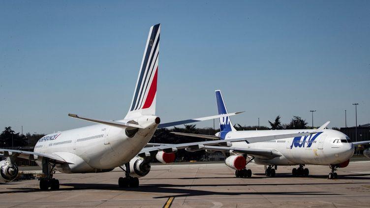 Sur le tarmac de l'aéroport Roissy-Charles-de-Gaulle, près de Paris, le 24 mars 2020. (THOMAS SAMSON / AFP)