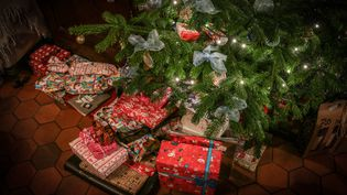 Des cadeaux attendent d'être ouverts au pied d'un sapin, à Espagnette (Nord), le 24 décembre 2018. (AMAURY CORNU / HANS LUCAS / AFP)