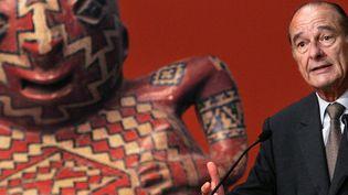 Jacques Chirac lors de son discours d'inauguration du musée du Quai Branly le 20 juin 2006 (PATRICK KOVARIK / POOL / AFP)