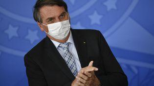Le président brésilien Jair Bolsonaro, le 10 mars 2021 à Brasilia. (MATEUS BONOMI / AGIF / AFP)