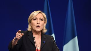 Marine Le Pen à Marseille, le 19 avril 2017. (ANNE-CHRISTINE POUJOULAT / AFP)