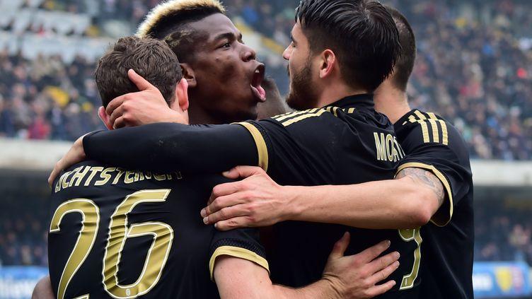 La joie de Paul Pogba et de ses coéquipiers de la Juventus Turin (GIUSEPPE CACACE / AFP)