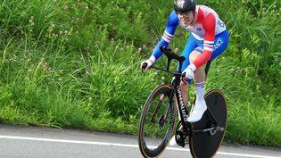 Rémi Cavagna lors du contre-la-montre des Jeux Olympiques de Tokyo. (CHRISTOPHER JUE / EPA / MAXPPP)