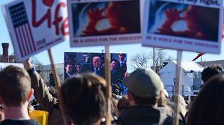 Des militants anti-avortement regardent le discours de Donald Trump, à Washington (Etats-Unis), le 19 janvier 2018. (EVA HAMBACH / AFP)