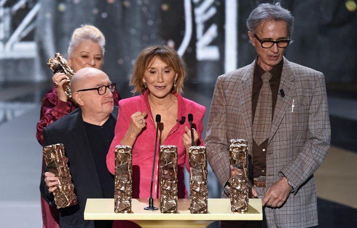 Josiane Balasko, Michel Blanc, Marie-Anne Chazel et Thierry Lhermitte à la 47e cérémonie des César, le 12 mars 2021. (BERTRAND GUAY / POOL)