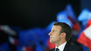 Emmanuel Macron lors d'un meeting à la Villette, à Paris, le 1er mai 2017. (GEOFFROY VAN DER HASSELT / AFP)