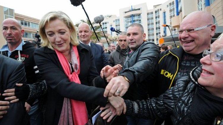 Après être allée à Sète, Marine Le Pen se rend au Mont-Saint-Michel. (ANNE-CHRISTINE POUJOULAT / AFP)