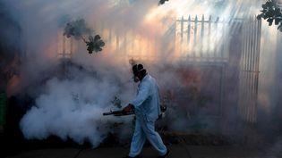 Un employé du ministère de la Santé enfume une maison à Managua (Nicaragua) pour tuer les moustiques, dans le cadred'une campagne contre la propagation du virus Zika, le 26 janvier 2015. (OSWALDO RIVAS / REUTERS)