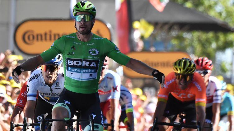Peter Sagan, vainqueur de la 5e étape du Tour de France 2019 avec le maillot vert sur ses épaules (JEFF PACHOUD / AFP)