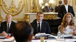 Le président français Emmanuel Macron dirige le dernier Conseil des ministresavant les vacances estivales, le 3 août 2018, à l'Elysée, à Paris. (MICHEL EULER / AFP)