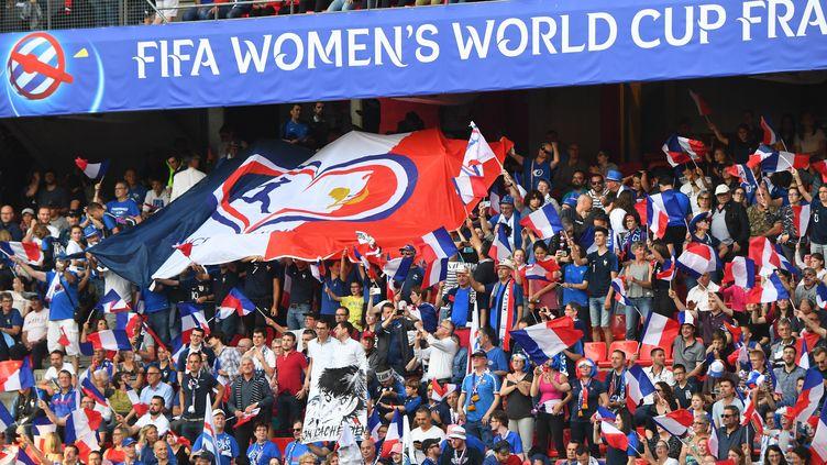 Un drapeau des France Ang'elles lors de la rencontre entre la France et le Nigeria à Rennes (Ille-et-Vilaine), le 17 juin 2019. (MAXPPP)