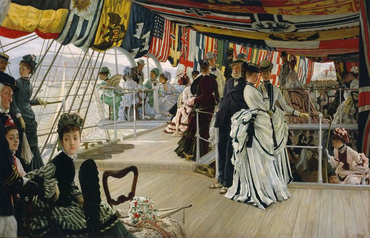 """James Tissot, """"The Ball on Shipboard"""", c. 1874, Tate. Presented by the Trustees of the Chantrey Bequest 1937  (Tate, Londres)"""
