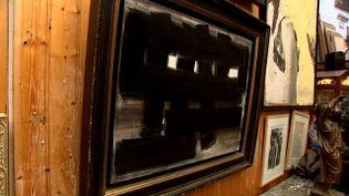 """""""Peinture 3 novembre 1955"""" de Pierre Soulages adjugée 450.000 euros à un collectionneur.  (PHOTOPQR/POPULAIRE DU CENTRE)"""