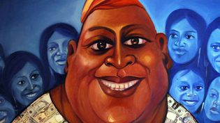 Détail d'une peinture de l'artiste nigérian Wande George, exposée fin août à Lagos  (Pius Utomi Ekpei / AFP)