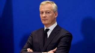 Bruno le Maire, le ministre de l'Economie, lors d'une conférence de presse, à Paris, le 9 mars 2020. (ERIC PIERMONT / AFP)