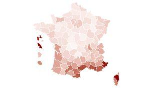 Carte de l'incidence par département en juillet 2021. (FRANCEINFO)
