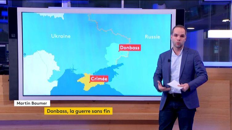 La carte de l'Ukraine avec le Donbass (FRANCEINFO)