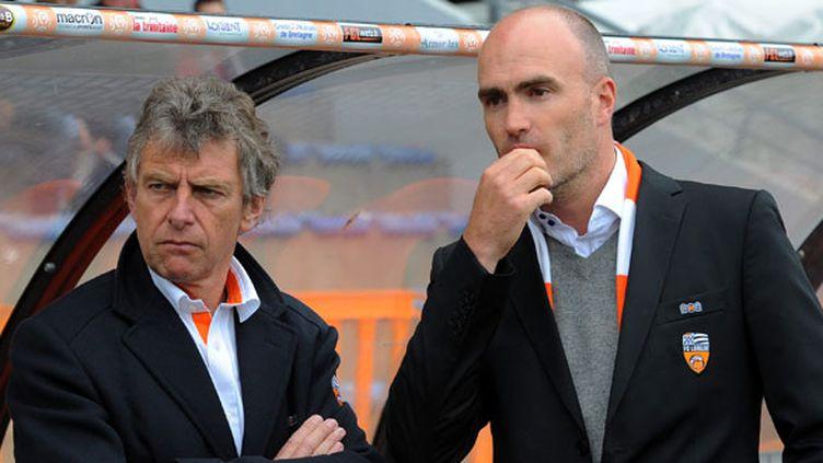 L'entraîneur du FC Lorient, Christian Gourcuff et le président Loïc Féry