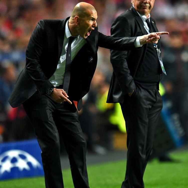 Zinédine Zidane, alors entraîneur-adjoint du Real Madrid, lors de la finale de la Ligue des champions, le 24 mai 2014, à Lisbonne (Portugal). (SHAUN BOTTERILL / GETTY IMAGES EUROPE)