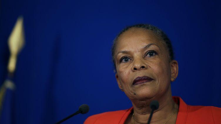 Christiane Taubira lors d'une conférence de presse, à Paris, le 27 janvier 2016. (KENZO TRIBOUILLARD / AFP)