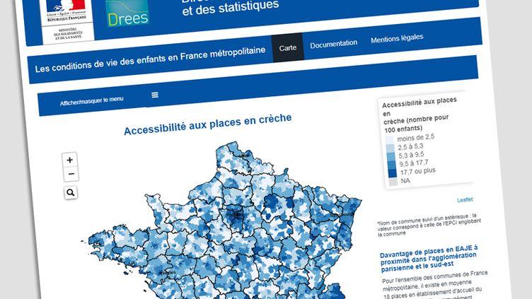 Carte et données mises en ligne par ladirection de la recherche, des études, de l'évaluation et des statistiquesdu ministère des Solidarités et de la Santé.  (DREES)