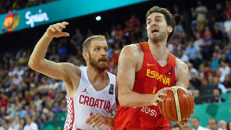 Le pivot espagnol Pau Gasol, meilleur joueur de l'équipe favorite de l'EuroBasket (DANIEL MIHAILESCU / AFP)